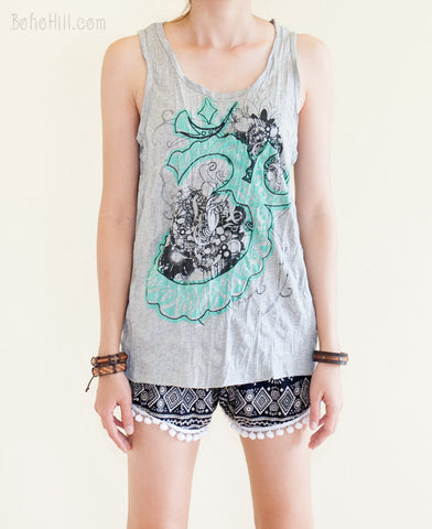 Unisex Shirt - Size M Hindu Om Flower Unisex Yoga Tank Top Normal Cut (Gray)