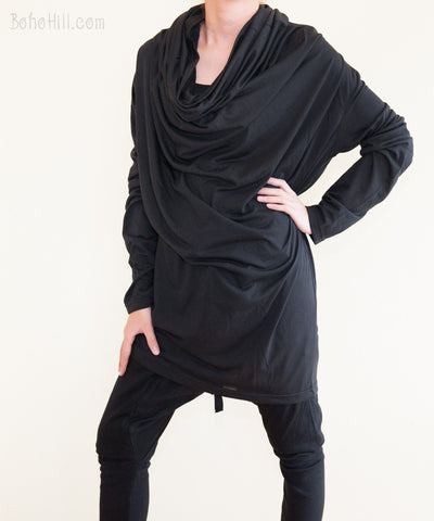 Unisex Top - Versatile Unisex Long Hoodie Jacket Fine Soft Jersey Cotton (Black)
