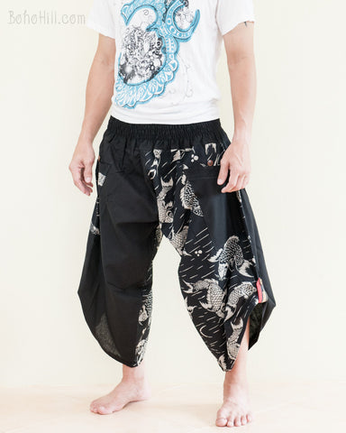 urban active flexible samurai harem pants summer airy cropped flow pants tribal trim shirred elastic waist ninja pants japanese koi fish river black side