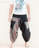 urban active flexible samurai harem pants summer airy cropped warrior flow pants tribal trim shirred elastic waist ninja pants black mountain tribal red diamond front