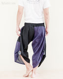 urban active flexible samurai harem pants summer airy cropped warrior flow pants tribal trim shirred elastic waist ninja pants cool purple geometric sayagata back