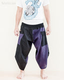 urban active flexible samurai harem pants summer airy cropped warrior flow pants tribal trim shirred elastic waist ninja pants cool purple geometric sayagata front