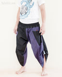 urban active flexible samurai harem pants summer airy cropped warrior flow pants tribal trim shirred elastic waist ninja pants cool purple geometric sayagata side
