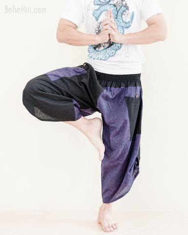 urban active flexible samurai harem pants summer airy cropped warrior flow pants tribal trim shirred elastic waist ninja pants cool purple geometric sayagata tree