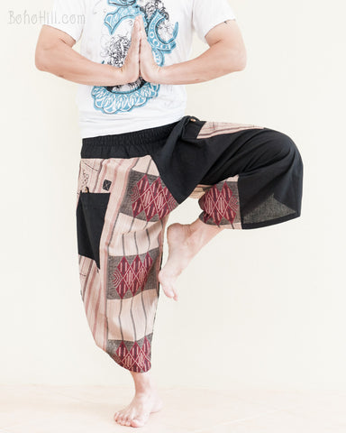 urban active flexible samurai harem pants summer airy cropped warrior flow pants tribal trim shirred elastic waist ninja pants ethnic brown stripe red diamond namaste