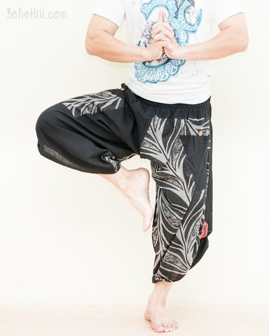 urban active ninja harem pants cropped tribal parkour flow pants amazon jungle leaves design airy yoga trousers dance