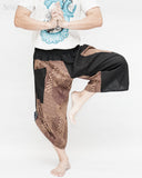 urban active ninja samurai capri pants flexible airy performers yoga trousers pull on elastic shirred waist tribal spiderweb dragon skin design cappuccino brown dance