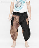 urban active ninja samurai capri pants flexible airy performers yoga trousers pull on elastic shirred waist tribal spiderweb dragon skin design cappuccino brown front
