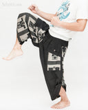 urban active samurai harem pants black ancient chinese square japanese warrior cropped trousers kick