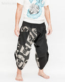 urban active samurai harem pants black ancient chinese square japanese warrior cropped trousers side