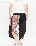 urban active samurai harem pants black brown textured cotton ancient chinese squares japanese cropped trousers back