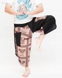 urban active samurai harem pants black brown textured cotton ancient chinese squares japanese cropped trousers dance