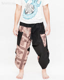 urban active samurai harem pants black brown textured cotton ancient chinese squares japanese cropped trousers front