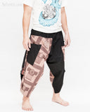 urban active samurai harem pants black brown textured cotton ancient chinese squares japanese cropped trousers side