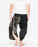 urban active samurai harem pants black dotted wild flowers japanese cropped trousers back