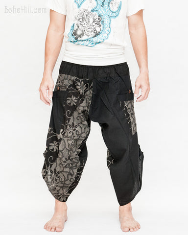 urban active samurai harem pants black dotted wild flowers japanese cropped trousers front