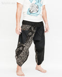 urban active samurai harem pants black dotted wild flowers japanese cropped trousers side