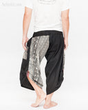 urban active samurai harem pants black elephants tribal diamond weave japanese cropped trousers back