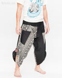 urban active samurai harem pants black elephants tribal diamond weave japanese cropped trousers side