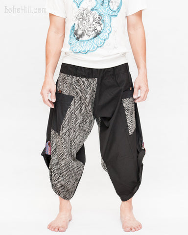 urban active samurai harem pants black hill tribe diamond weave japanese cropped trousers front