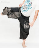 Urban Active Samurai Harem Pants (Black Japanese Waves)