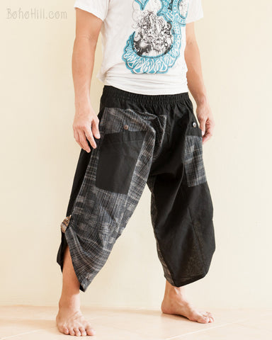 Urban Active Samurai Harem Pants Black Japanese Woven Texture side