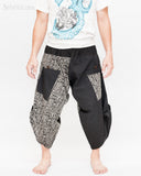 urban active samurai harem pants black tribal broken rock japanese cropped trousers front