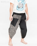 urban active samurai harem pants black tribal broken rock japanese cropped trousers side