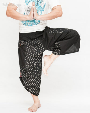 urban active samurai harem pants black weave starry swirl japanese warrior cropped trousers namaste
