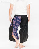 urban active samurai harem pants blue ancient warrior chinese squares japanese cropped trousers back