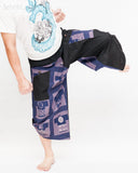 urban active samurai harem pants blue ancient warrior chinese squares japanese cropped trousers kick