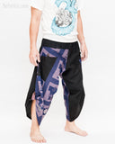 urban active samurai harem pants blue ancient warrior chinese squares japanese cropped trousers side