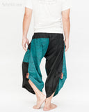 urban active samurai harem pants turquoise zen pebbles japanese warrior cropped trousers back