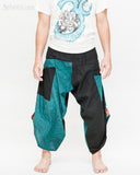 urban active samurai harem pants turquoise zen pebbles japanese warrior cropped trousers front