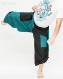 urban active samurai harem pants turquoise zen pebbles japanese warrior cropped trousers kick
