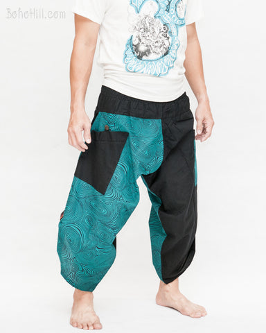 urban active samurai harem pants turquoise zen pebbles japanese warrior cropped trousers side