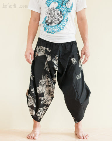 Urban Active Samurai Harem Pants Unisex Black Japanese Goldfish front