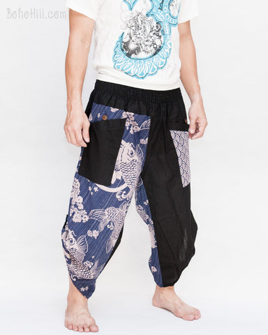 urban ninja active samurai pants cropped length flexible low crotch elastic shirred waist tribal trim mythical japanese koi fish sakura design denim blue side