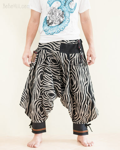 Warrior Tribal Harem Ninja Pants Unisex Trousers African Zebra Black Edition front