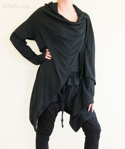 Women's Top - Creative Versatile Long Cardigan Drape Jacket Jersey Cotton Vest (Black)