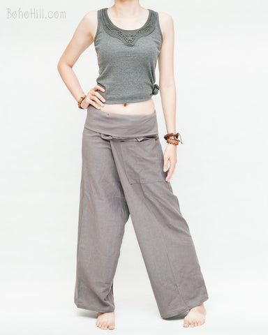 womens thai fisherman pants casual calm zen monestery meditation minimalist trousers wrap around fold over waist relaxed loose fit yoga pajamas flexible drop crotch plain solid gray front