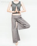 womens thai fisherman pants casual calm zen monestery meditation minimalist trousers wrap around fold over waist relaxed loose fit yoga pajamas flexible drop crotch plain solid gray namaste