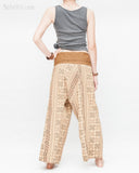 womens thai fisherman pants straight slim petite versatile wrap around solid fold over waist airy relaxed loose fit yoga pants drop crotch full body khaki brown tribal inca aztec back