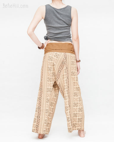 94abefa34ca ... womens thai fisherman pants straight slim petite versatile wrap around  solid fold over waist airy relaxed
