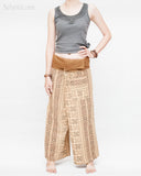 womens thai fisherman pants straight slim petite versatile wrap around solid fold over waist airy relaxed loose fit yoga pants drop crotch full body khaki brown tribal inca aztec front