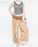 womens thai fisherman pants straight slim petite versatile wrap around solid fold over waist airy relaxed loose fit yoga pants drop crotch full body khaki brown tribal inca aztec relax