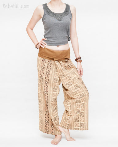 d36068bf3ec womens thai fisherman pants straight slim petite versatile wrap around  solid fold over waist airy relaxed