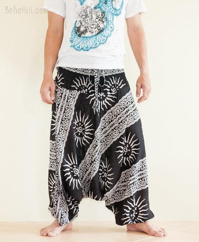 Yoga Pants - Aladdin Baggy Low Crotch Unisex Boho Yoga Pants (Black Greek Sun)