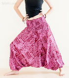 Yoga Pants - Ancient Tribal Harem Pants Low Crotch Yoga Trousers (Pink)