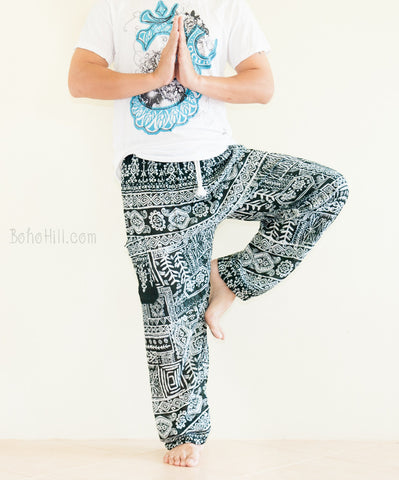 Yoga Pants - Ancient Tribal Soft Rayon Unisex Genie Yoga Pants Drawstring Waist (Teal Green)